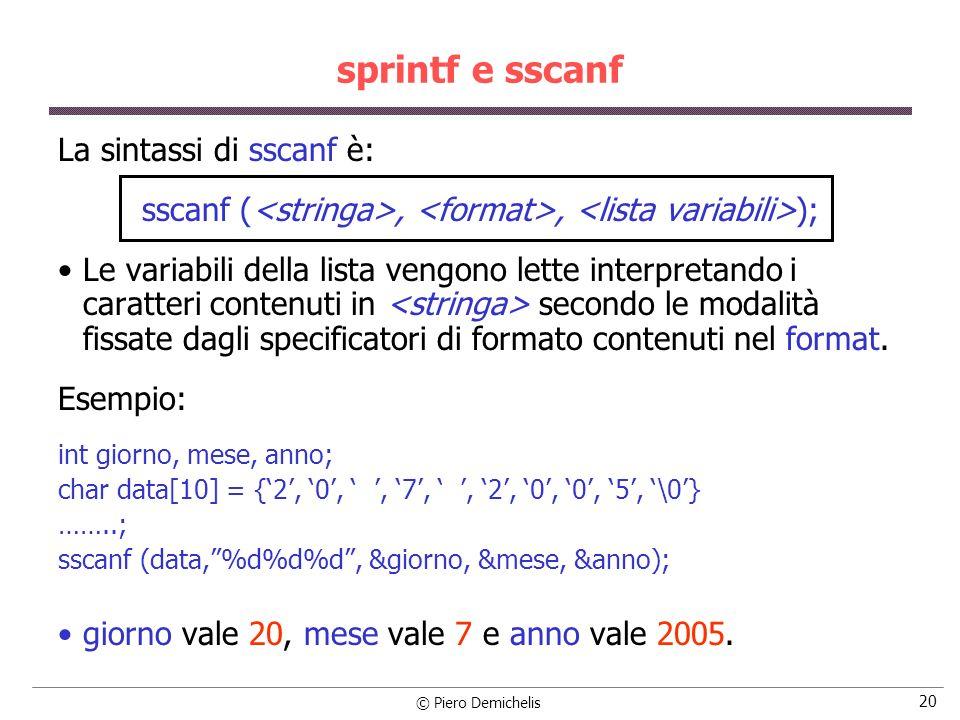 © Piero Demichelis 20 sprintf e sscanf La sintassi di sscanf è: sscanf (,, ); Le variabili della lista vengono lette interpretando i caratteri contenuti in secondo le modalità fissate dagli specificatori di formato contenuti nel format.