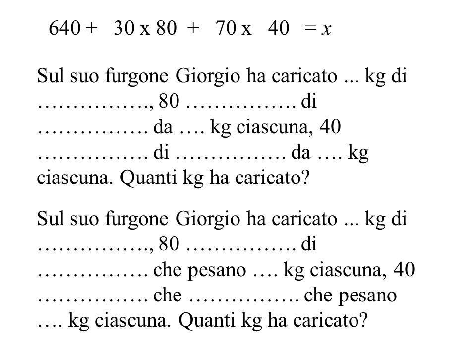 Sul suo furgone Giorgio ha caricato...kg di ……………., 80 …………….