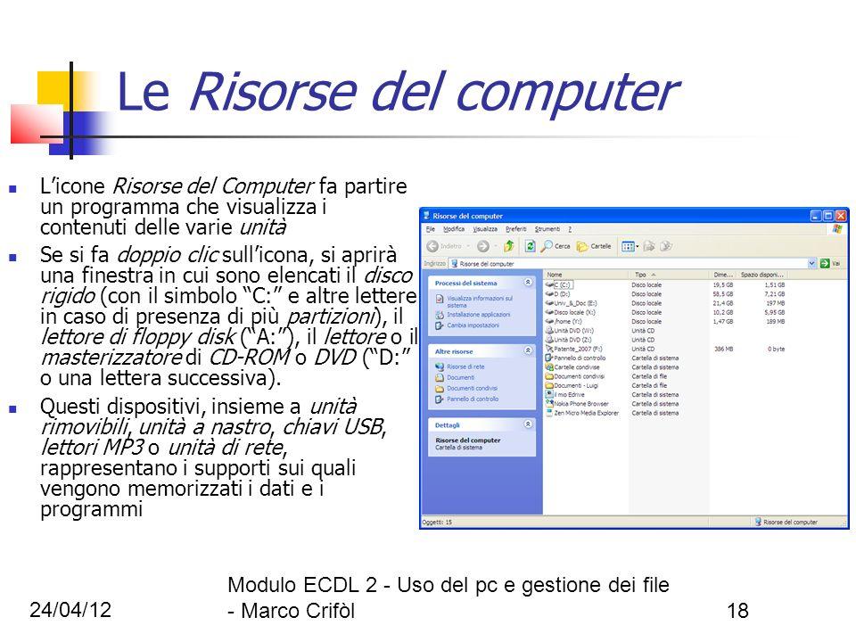 24/04/12 Modulo ECDL 2 - Uso del pc e gestione dei file - Marco Crifòl18 Le Risorse del computer Licone Risorse del Computer fa partire un programma c