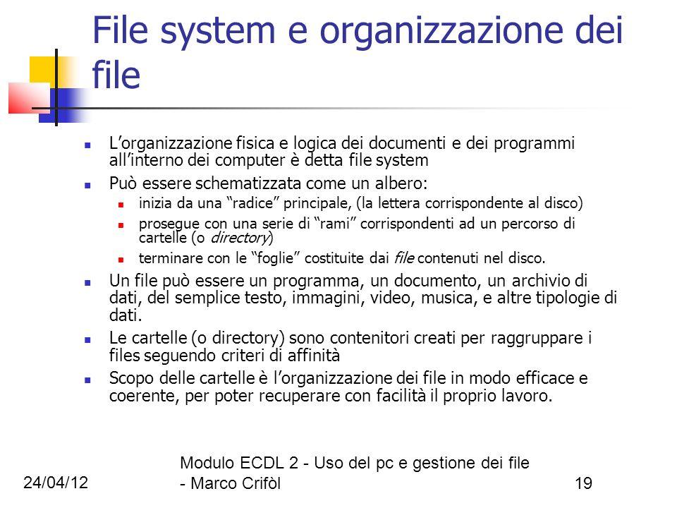 24/04/12 Modulo ECDL 2 - Uso del pc e gestione dei file - Marco Crifòl19 File system e organizzazione dei file Lorganizzazione fisica e logica dei doc