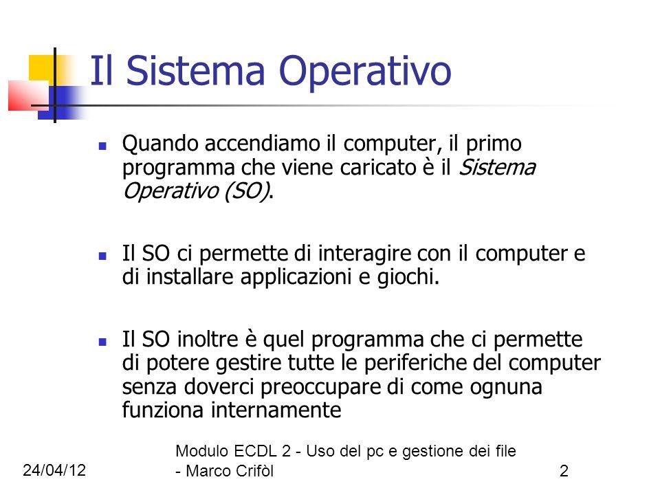 24/04/12 Modulo ECDL 2 - Uso del pc e gestione dei file - Marco Crifòl2 Il Sistema Operativo Quando accendiamo il computer, il primo programma che vie