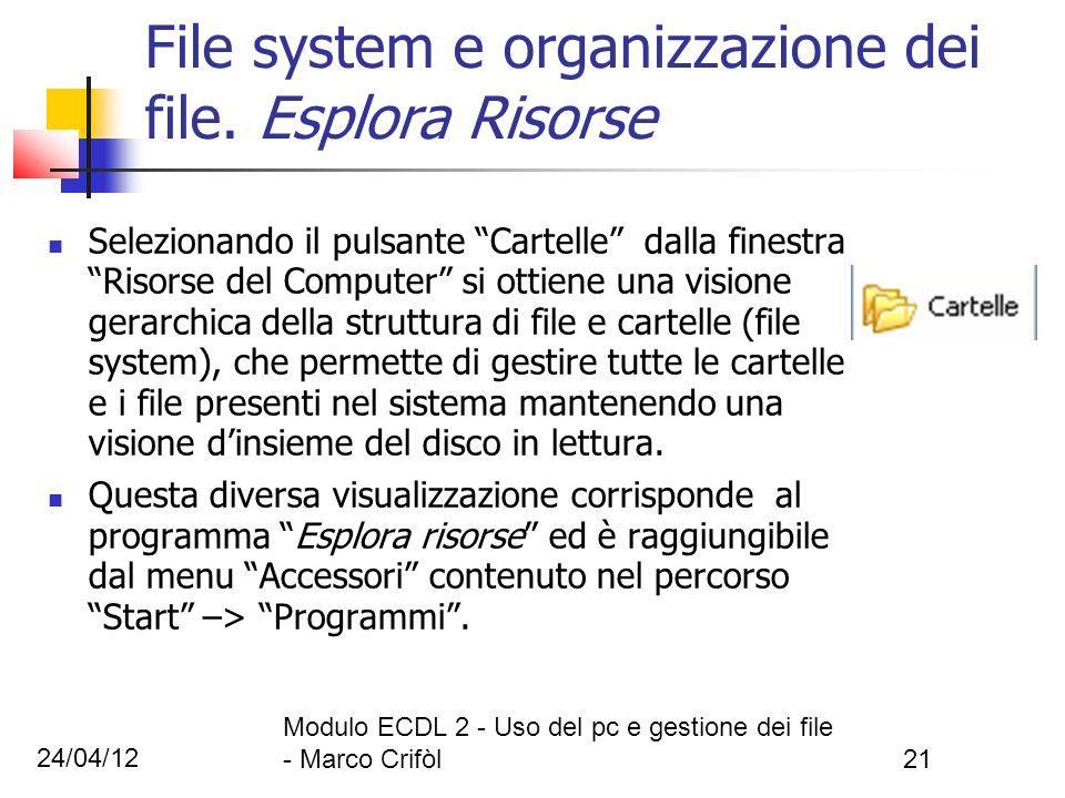 24/04/12 Modulo ECDL 2 - Uso del pc e gestione dei file - Marco Crifòl21 File system e organizzazione dei file. Esplora Risorse Selezionando il pulsan
