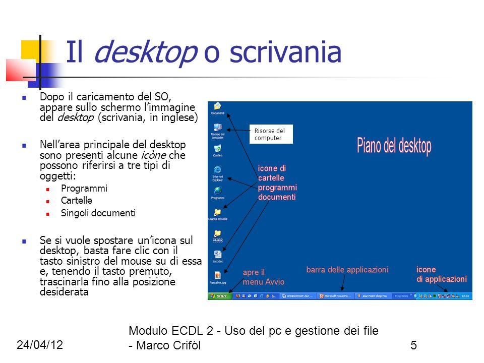 24/04/12 Modulo ECDL 2 - Uso del pc e gestione dei file - Marco Crifòl5 Il desktop o scrivania Dopo il caricamento del SO, appare sullo schermo limmag