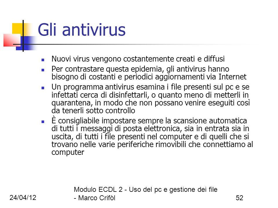 24/04/12 Modulo ECDL 2 - Uso del pc e gestione dei file - Marco Crifòl52 Gli antivirus Nuovi virus vengono costantemente creati e diffusi Per contrast