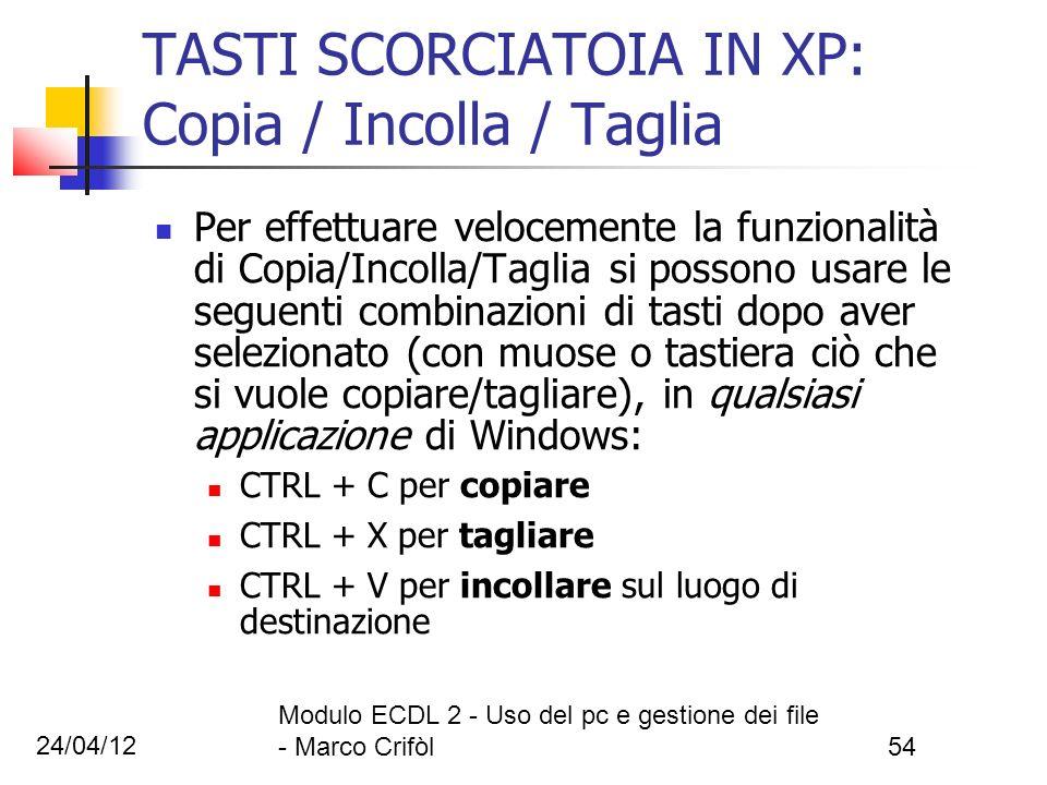 24/04/12 Modulo ECDL 2 - Uso del pc e gestione dei file - Marco Crifòl54 Per effettuare velocemente la funzionalità di Copia/Incolla/Taglia si possono