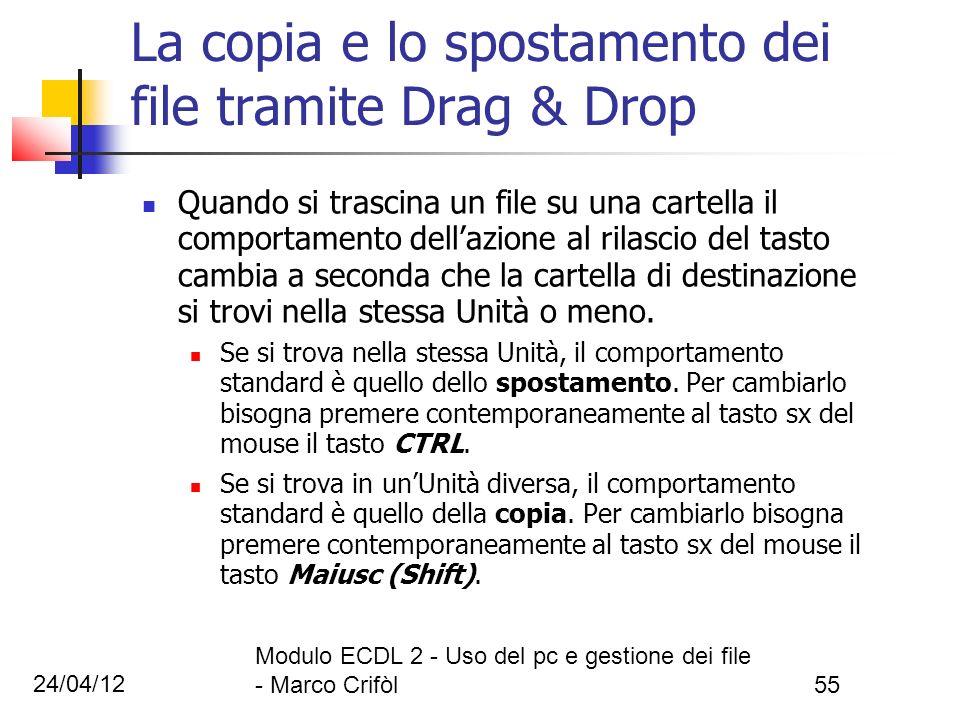 24/04/12 Modulo ECDL 2 - Uso del pc e gestione dei file - Marco Crifòl55 La copia e lo spostamento dei file tramite Drag & Drop Quando si trascina un