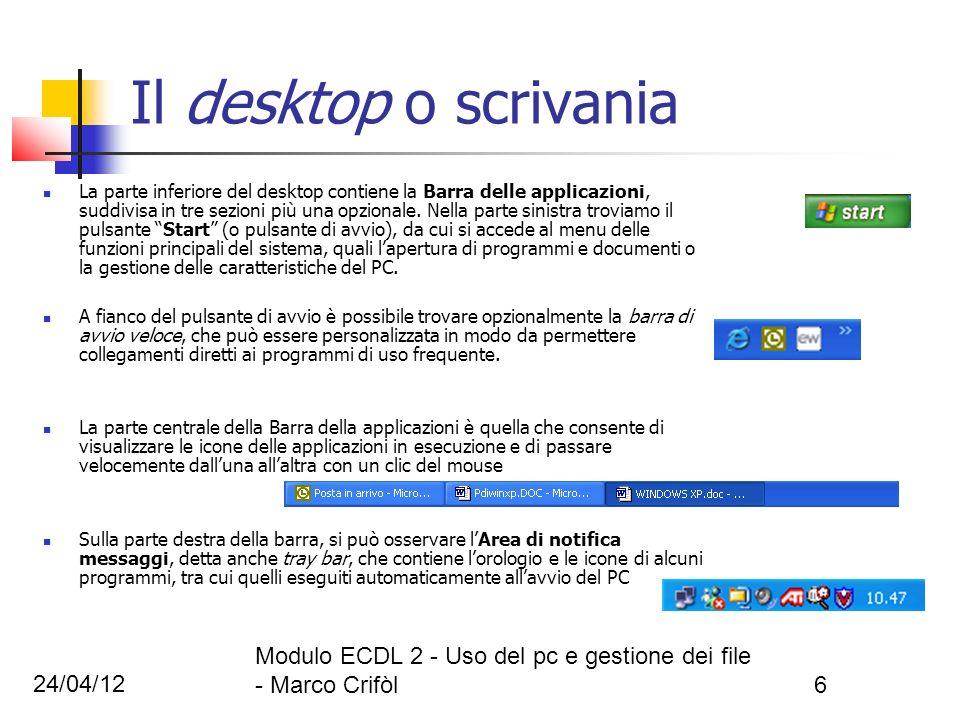 24/04/12 Modulo ECDL 2 - Uso del pc e gestione dei file - Marco Crifòl6 Il desktop o scrivania La parte inferiore del desktop contiene la Barra delle