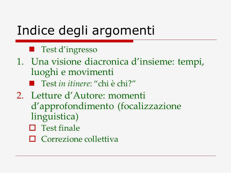 Indice degli argomenti Test dingresso 1.Una visione diacronica dinsieme: tempi, luoghi e movimenti Test in itinere: chi è chi? 2.Letture dAutore: mome