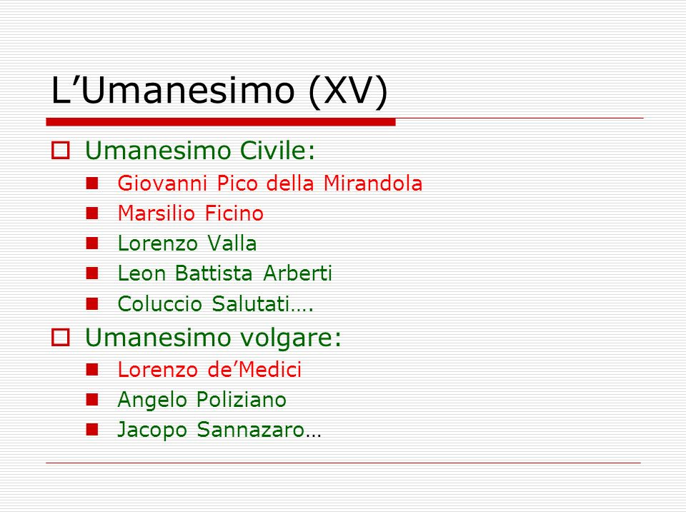 LUmanesimo (XV) Umanesimo Civile: Giovanni Pico della Mirandola Marsilio Ficino Lorenzo Valla Leon Battista Arberti Coluccio Salutati…. Umanesimo volg