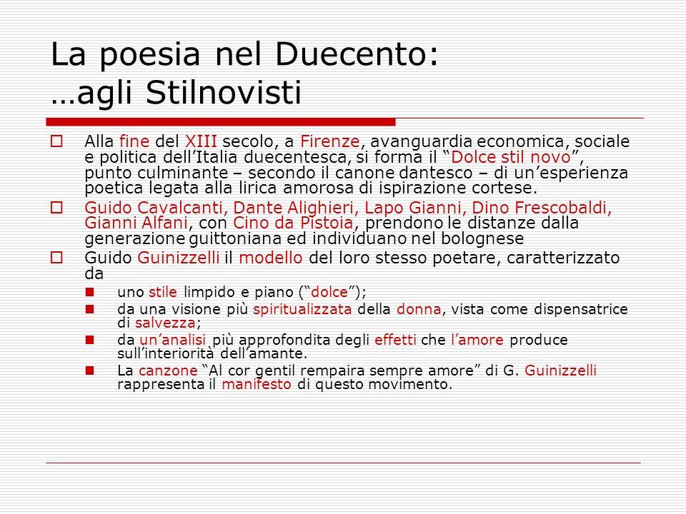 La poesia nel Duecento: …agli Stilnovisti Alla fine del XIII secolo, a Firenze, avanguardia economica, sociale e politica dellItalia duecentesca, si f
