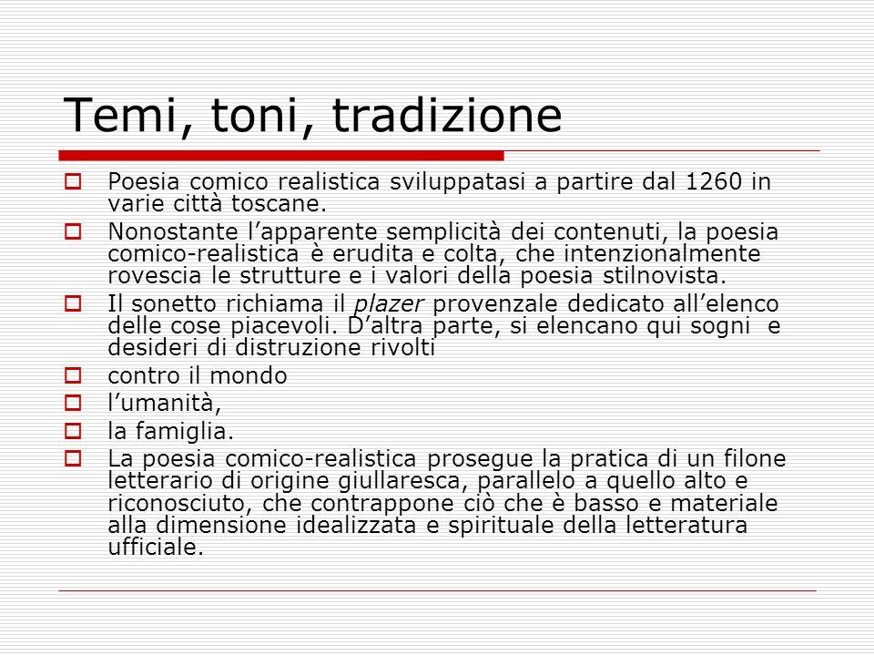 Temi, toni, tradizione Poesia comico realistica sviluppatasi a partire dal 1260 in varie città toscane. Nonostante lapparente semplicità dei contenuti