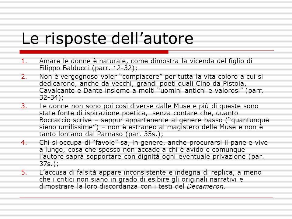 Le risposte dellautore 1.Amare le donne è naturale, come dimostra la vicenda del figlio di Filippo Balducci (parr. 12-32); 2.Non è vergognoso voler co