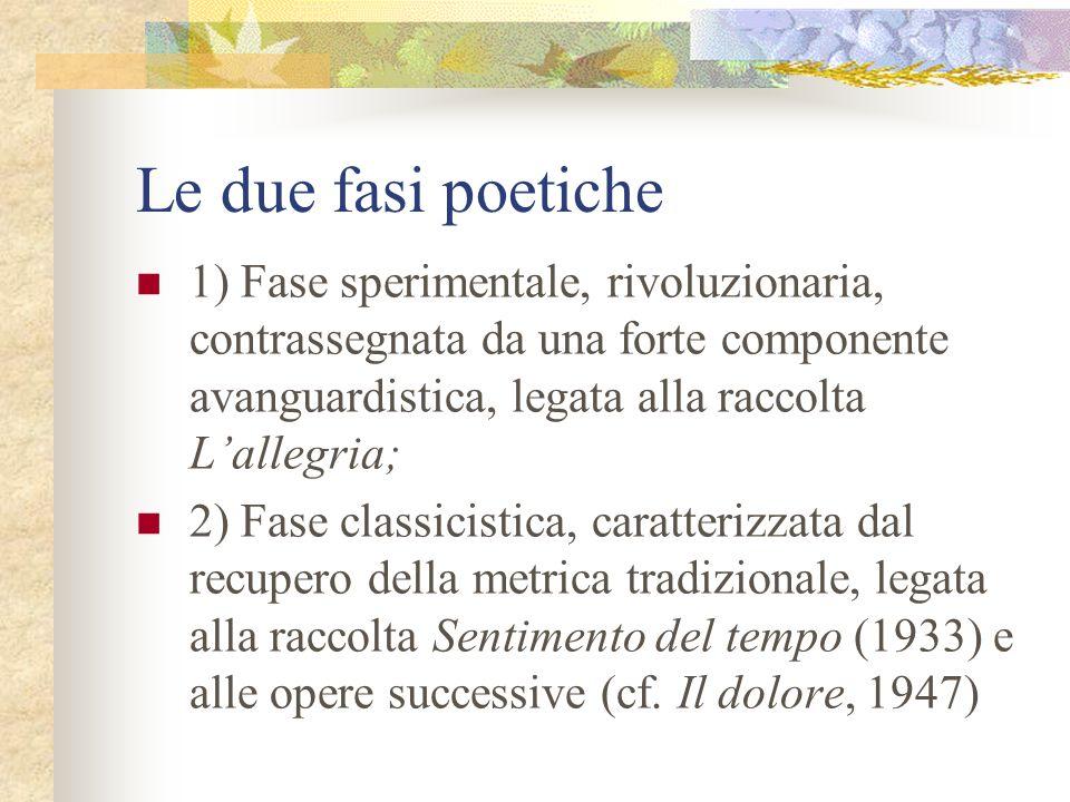 Le due fasi poetiche 1) Fase sperimentale, rivoluzionaria, contrassegnata da una forte componente avanguardistica, legata alla raccolta Lallegria; 2)