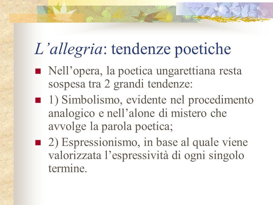 Lallegria: tendenze poetiche Nellopera, la poetica ungarettiana resta sospesa tra 2 grandi tendenze: 1) Simbolismo, evidente nel procedimento analogic