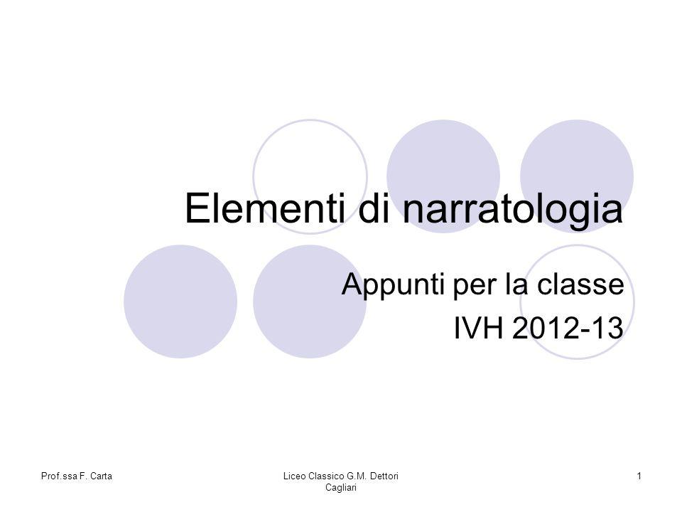 Prof.ssa F. CartaLiceo Classico G.M. Dettori Cagliari 1 Elementi di narratologia Appunti per la classe IVH 2012-13