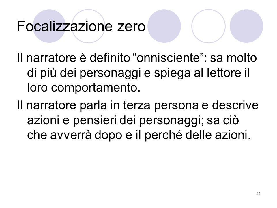14 Focalizzazione zero Il narratore è definito onnisciente: sa molto di più dei personaggi e spiega al lettore il loro comportamento. Il narratore par