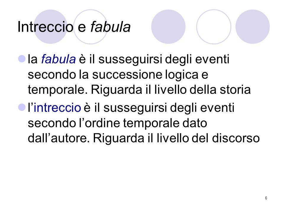 6 Intreccio e fabula la fabula è il susseguirsi degli eventi secondo la successione logica e temporale. Riguarda il livello della storia lintreccio è