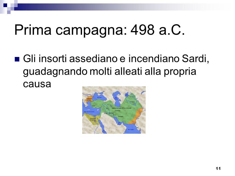 11 Prima campagna: 498 a.C. Gli insorti assediano e incendiano Sardi, guadagnando molti alleati alla propria causa