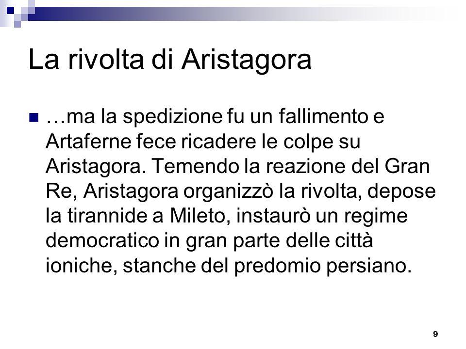 9 La rivolta di Aristagora …ma la spedizione fu un fallimento e Artaferne fece ricadere le colpe su Aristagora. Temendo la reazione del Gran Re, Arist