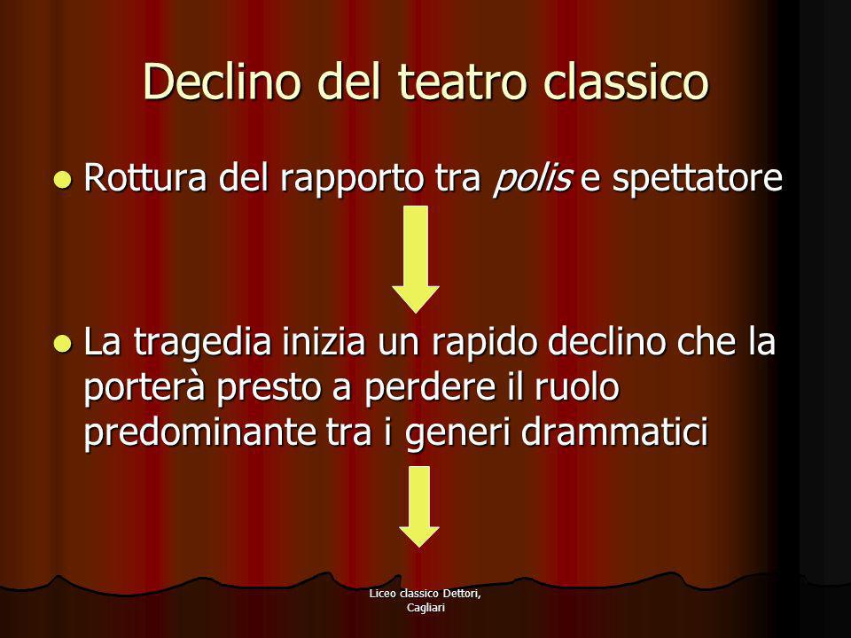 Liceo classico Dettori, Cagliari Declino del teatro classico Rottura del rapporto tra polis e spettatore Rottura del rapporto tra polis e spettatore L