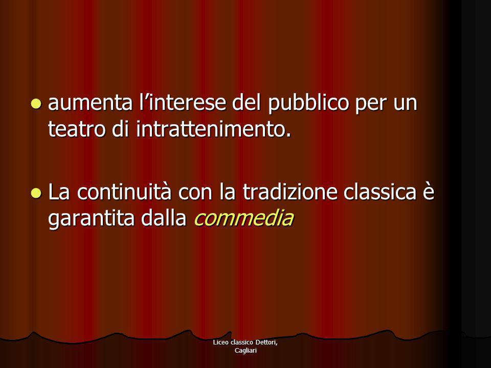 Liceo classico Dettori, Cagliari Novità strutturali della commedia Cinque atti.