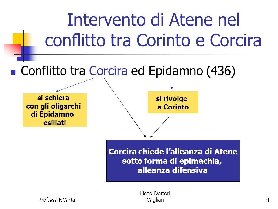 Prof.ssa F.Carta Liceo Dettori Cagliari4 Intervento di Atene nel conflitto tra Corinto e Corcira Conflitto tra Corcira ed Epidamno (436) si schiera co