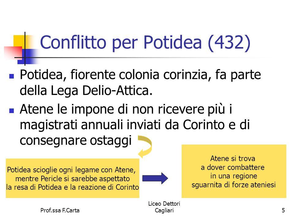 Prof.ssa F.Carta Liceo Dettori Cagliari5 Conflitto per Potidea (432) Potidea, fiorente colonia corinzia, fa parte della Lega Delio-Attica. Atene le im