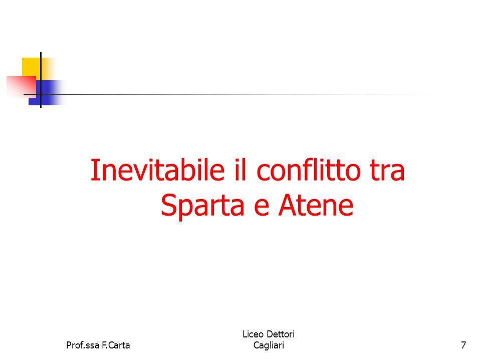 Prof.ssa F.Carta Liceo Dettori Cagliari7 Inevitabile il conflitto tra Sparta e Atene