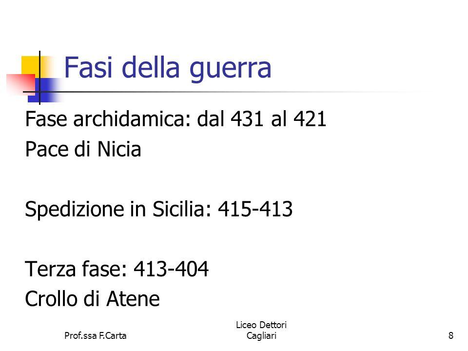 Prof.ssa F.Carta Liceo Dettori Cagliari8 Fasi della guerra Fase archidamica: dal 431 al 421 Pace di Nicia Spedizione in Sicilia: 415-413 Terza fase: 4