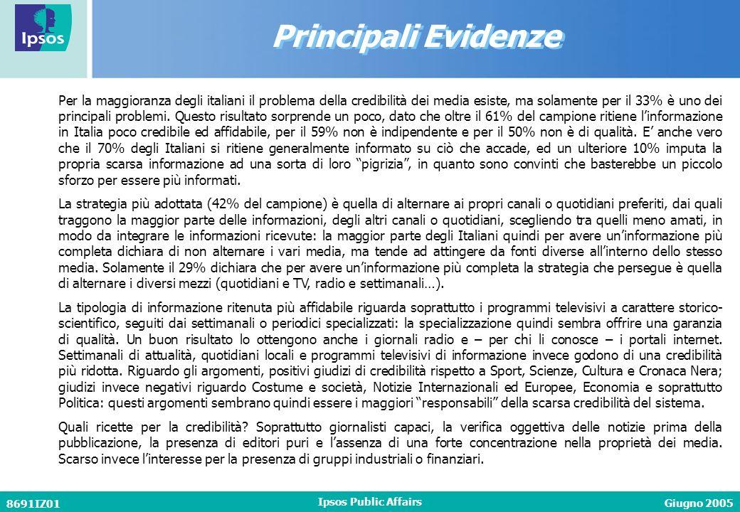Giugno 2005 8691IZ01 Ipsos Public Affairs Principali Evidenze Per la maggioranza degli italiani il problema della credibilità dei media esiste, ma solamente per il 33% è uno dei principali problemi.