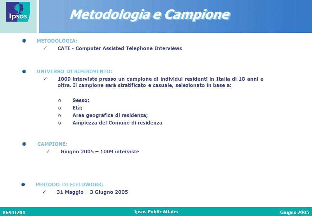 Giugno 2005 8691IZ01 Ipsos Public Affairs METODOLOGIA: CATI - Computer Assisted Telephone Interviews CAMPIONE: Giugno 2005 – 1009 interviste PERIODO D