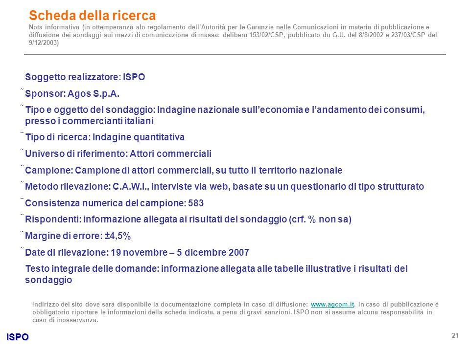 ISPO 21 Soggetto realizzatore: ISPO Sponsor: Agos S.p.A. Tipo e oggetto del sondaggio: Indagine nazionale sulleconomia e landamento dei consumi, press