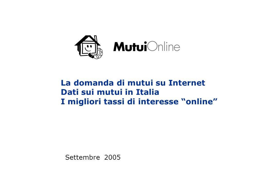 La domanda di mutui su Internet Dati sui mutui in Italia I migliori tassi di interesse online Settembre 2005