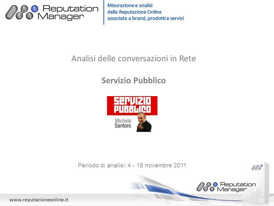 www.reputazioneonline.it Analisi delle conversazioni in Rete Servizio Pubblico Periodo di analisi: 4 - 18 novembre 2011