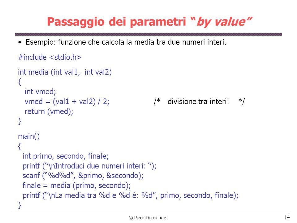 © Piero Demichelis 14 Passaggio dei parametri by value Esempio: funzione che calcola la media tra due numeri interi.