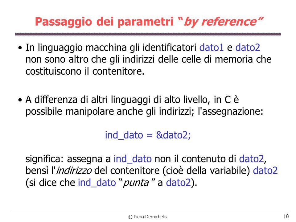 © Piero Demichelis 18 Passaggio dei parametri by reference In linguaggio macchina gli identificatori dato1 e dato2 non sono altro che gli indirizzi delle celle di memoria che costituiscono il contenitore.