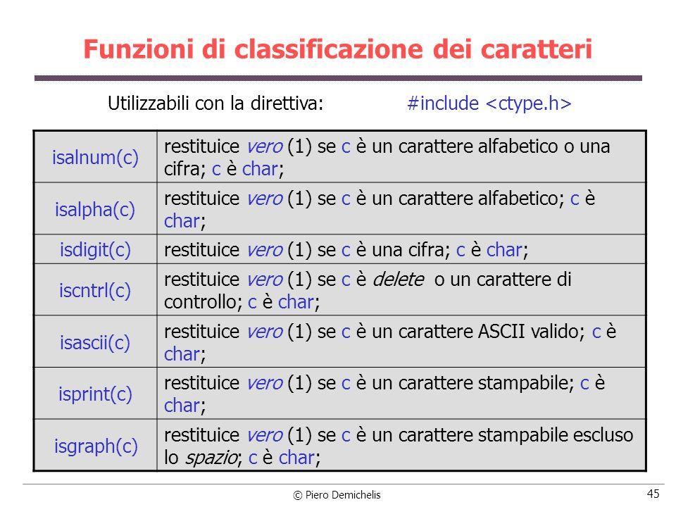 © Piero Demichelis 45 Funzioni di classificazione dei caratteri isalnum(c) restituice vero (1) se c è un carattere alfabetico o una cifra; c è char; isalpha(c) restituice vero (1) se c è un carattere alfabetico; c è char; isdigit(c) restituice vero (1) se c è una cifra; c è char; iscntrl(c) restituice vero (1) se c è delete o un carattere di controllo; c è char; isascii(c) restituice vero (1) se c è un carattere ASCII valido; c è char; isprint(c) restituice vero (1) se c è un carattere stampabile; c è char; isgraph(c) restituice vero (1) se c è un carattere stampabile escluso lo spazio; c è char; Utilizzabili con la direttiva: #include