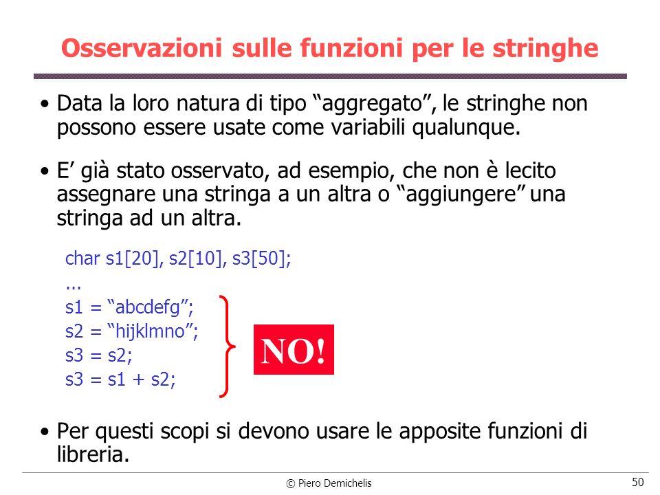 © Piero Demichelis 50 Osservazioni sulle funzioni per le stringhe Data la loro natura di tipo aggregato, le stringhe non possono essere usate come variabili qualunque.
