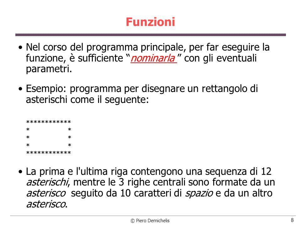 © Piero Demichelis 9 Esempio Possiamo organizzare il programma in modo tale da avere una funzione, che chiameremo testacoda, per le righe estreme ed un altra funzione, corporett, per le righe intermedie.