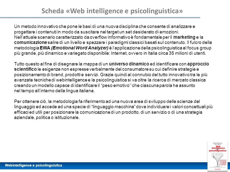 Webintelligence e psicolinguisitca Scheda «Web intelligence e psicolinguistica» Un metodo innovativo che pone le basi di una nuova disciplina che cons
