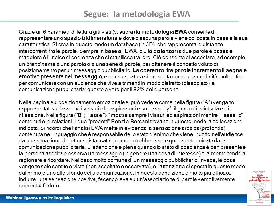 Webintelligence e psicolinguisitca Segue: la metodologia EWA Grazie ai 6 parametri di lettura già visti (v. supra) la metodologia EWA consente di rapp