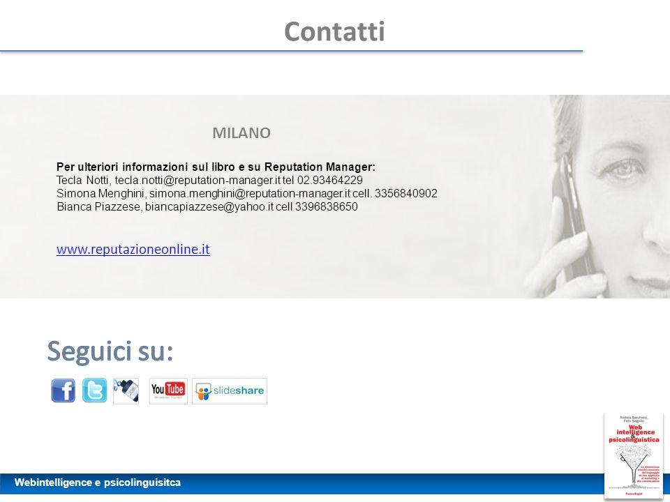 Webintelligence e psicolinguisitca Contatti MILANO Per ulteriori informazioni sul libro e su Reputation Manager: Tecla Notti, tecla.notti@reputation-m
