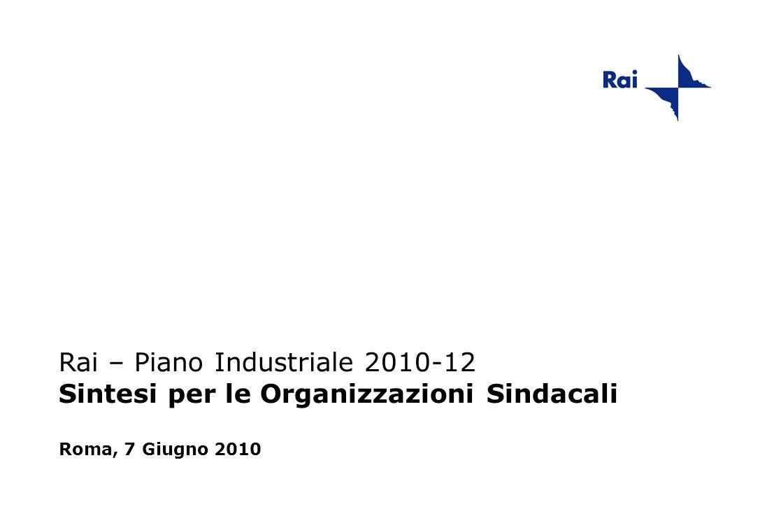 Rai – Piano Industriale 2010-12 Sintesi per le Organizzazioni Sindacali Roma, 7 Giugno 2010