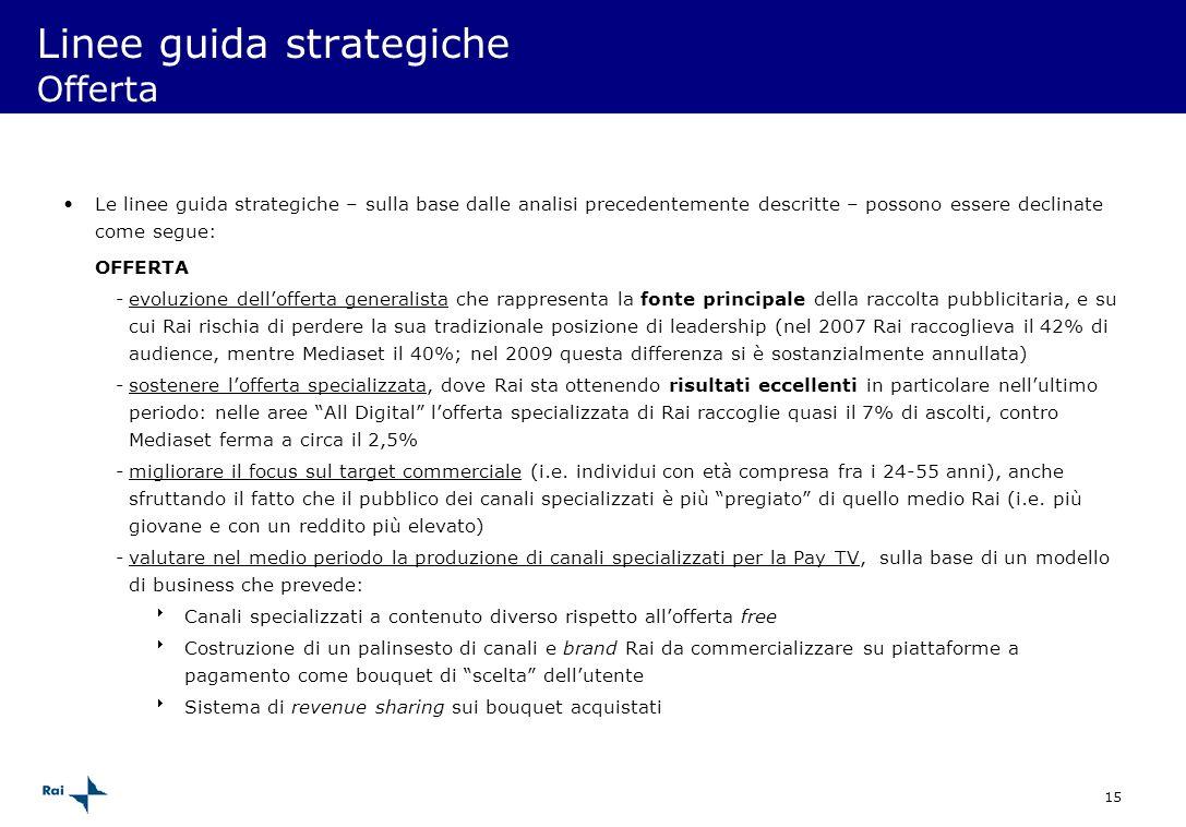 15 Linee guida strategiche Offerta Le linee guida strategiche – sulla base dalle analisi precedentemente descritte – possono essere declinate come seg