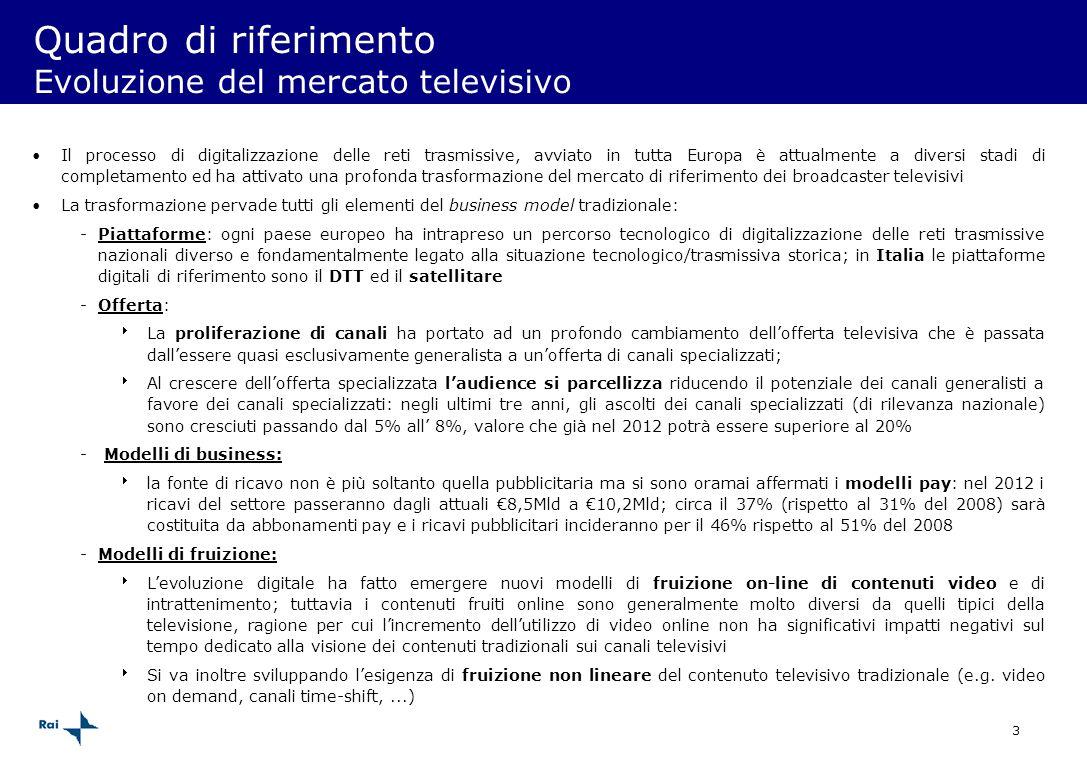 3 Quadro di riferimento Evoluzione del mercato televisivo Il processo di digitalizzazione delle reti trasmissive, avviato in tutta Europa è attualment