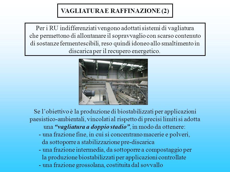 VAGLIATURA E RAFFINAZIONE (2) Per i RU indifferenziati vengono adottati sistemi di vagliatura che permettono di allontanare il sopravvaglio con scarso