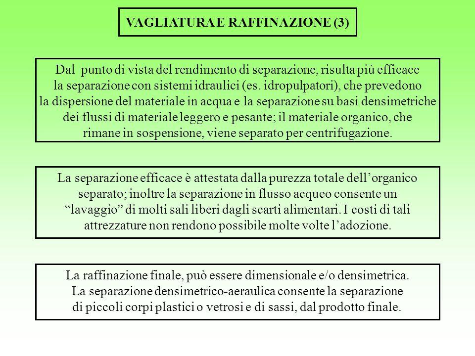 VAGLIATURA E RAFFINAZIONE (3) Dal punto di vista del rendimento di separazione, risulta più efficace la separazione con sistemi idraulici (es. idropul