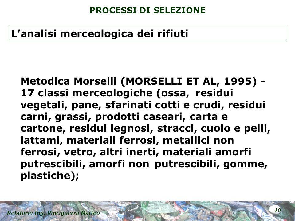 Relatore: Ing. Vinciguerra Matteo 10 PROCESSI DI SELEZIONE Metodica Morselli (MORSELLI ET AL, 1995) - 17 classi merceologiche (ossa, residui vegetali,