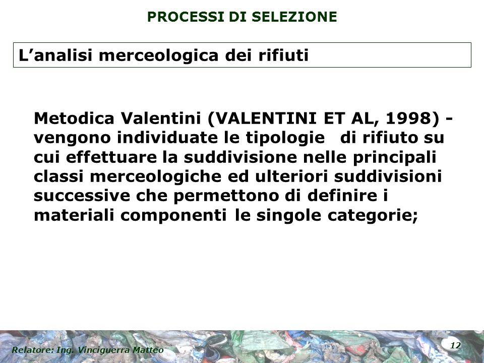 Relatore: Ing. Vinciguerra Matteo 12 PROCESSI DI SELEZIONE Metodica Valentini (VALENTINI ET AL, 1998) - vengono individuate le tipologie di rifiuto su