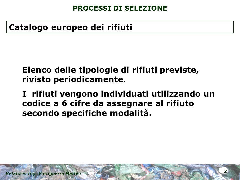 Relatore: Ing. Vinciguerra Matteo 2 PROCESSI DI SELEZIONE Elenco delle tipologie di rifiuti previste, rivisto periodicamente. I rifiuti vengono indivi